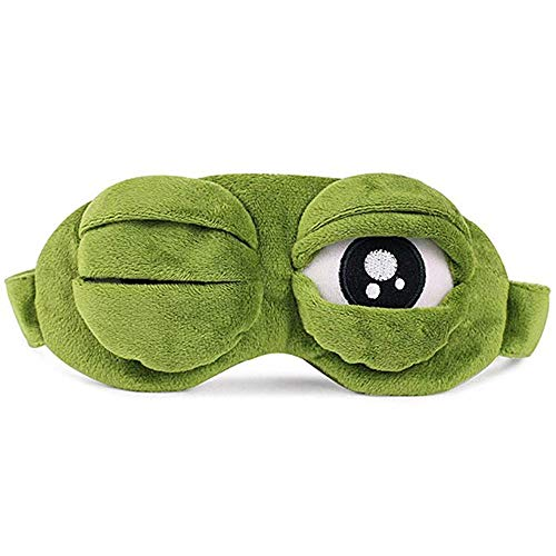 YouU 3D Cute Frog Sleep Eye Mask Green Cartoon Sad Frog Eye Mask Cover Sleeping Rest Travel Anime Funny Gift