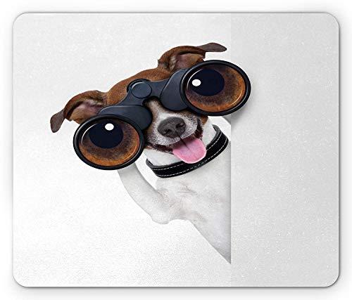 Lustiges Mauspad, Fernglas Hundesuche suchende Wissenschaft Welpe Karriere Vision Erfolg Comic-Bild, Rechteck Rechteck rutschfestes Gummi-Mauspad, braun weiß