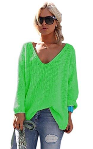 Mikos*Damen Frauen Strickpullover Pullover Pulli Strick Oberteile Oversized Sommer Herbst Frühling One Size (617 Neon Grün)