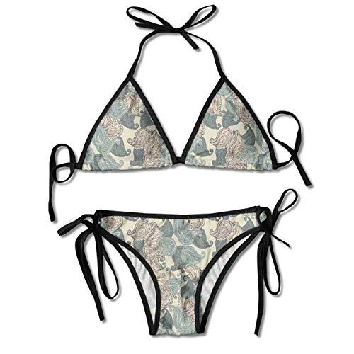 dilidy Bikini-Badeanzüge Motive aus der persischen Kultur Teardrop-Form Wirbelspitze Orientalischer Naher Osten Bikini-Sets Badeanzug Badeanzug