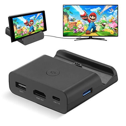 Powerextra Adapter für Nintendo Switch – Ersatz für tragbare TV-Dockingstation TV Dock für Nintendo Switch mit TV Typ C auf HDMI MicroSD USB 3.0 2.0 (schwarz)