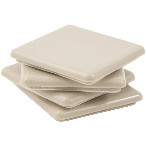 Self-Stick, Square Heavy Furniture Sliders for Carpeted Surfaces (4 piece) - 2-1/2 Square SuperSliders by Super Sliders