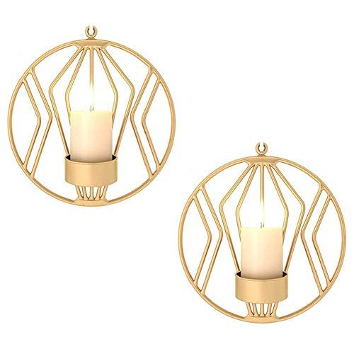 Sziqiqi Schmiedeeiserne Wanddekoration, Stereometrischer Kerzenleuchter, Beleuchtung Dekoration für Wohnzimmer/Esszimmer/Bar, Gold