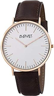 August Steiner Men's Slim Minimalist Extra Thin Lightweight Classic Dress Watch - Rose Gold ToneCase and White Dial on Dar...