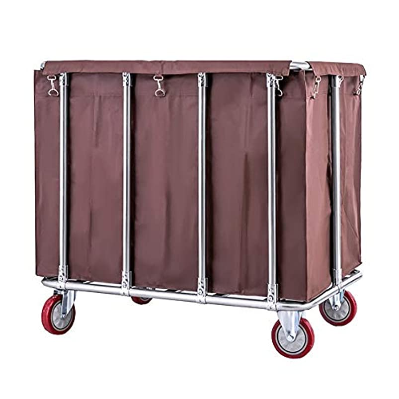 Laundry Sorter Cart YXX- 400L Capacity with Silent Wheels, Rolling Laundry Hamper with Removable Bags, Stainless Steel Bracket (Color : Coffee Color) vcoxrhaz499842