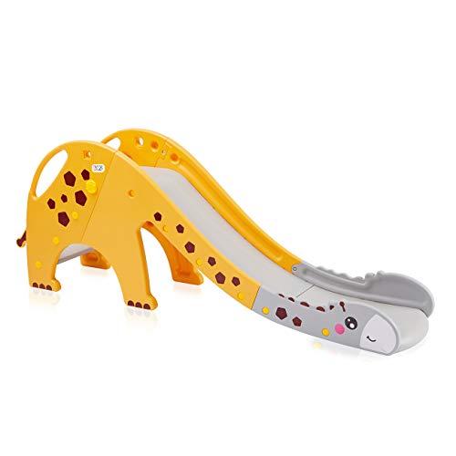 Baby Vivo Kinder Rutsche Kinderrutsche Gartenrutsche Kleinkinderrutsche Kunststoff Giraffe Garten Rutsche abgerundete Ecken & Kanten für Indoor & Outdoor in Gelb