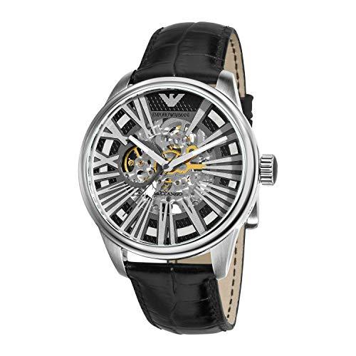 エンポリオアルマーニ Emporio Armani Men's AR4629 Meccanico Black Skeleton Dial Watch 男性 メンズ 腕...
