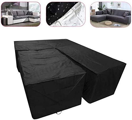 Outdoor Patio L Shaped Garden Furniture Covers Waterproof Patio Dustproof Outdoor Dining Set Furniture Sofa Protector With Storage Bag for Moving or Sunscreen (Color : 215x215x87cm)