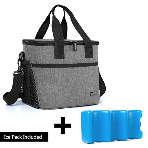 Yarwo Breast Milk Cooler Bag with Ice Pack for 6 Bottles up to 9 Ounce, Insulated Baby Bottles Tote Bag for Breastfeeding Mothers on The go, Gray