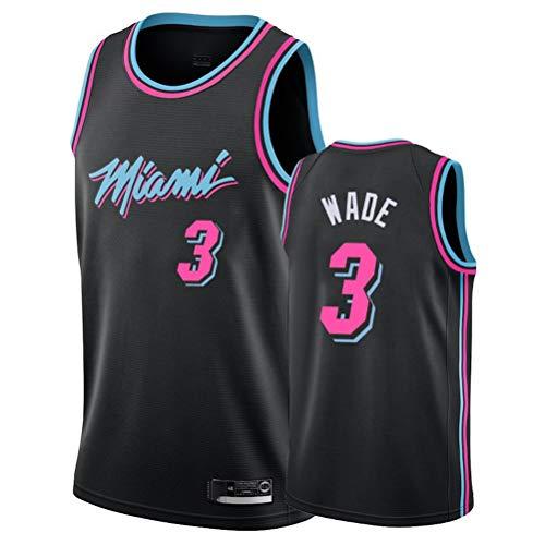 LSJ-ZZ Jersey Men's NBA Miami Heat # 3 Dwyane Wade Retro Bordado Baloncesto Ropa de Entrenamiento de Baloncesto, Unisex Sin Mangas Tshirt Chaleco,Negro,XXL