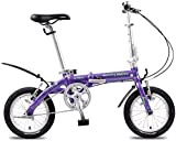Aoyo Mini Folding Bikes, leichte, tragbare 14' Aluminiumlegierung Urban Commuter Fahrrad, Super Compact Single Speed faltbares Fahrrad, (Color : Purple)