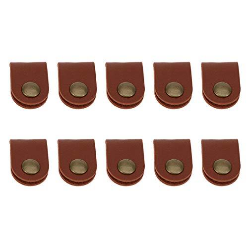 Healifty 10 peças organizador de cabos de couro para gerenciamento de cabos, abraçadeiras para cabo USB e fio de fone de ouvido (marrom)