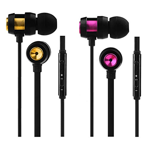 Earbuds with Microphone 2 Pack Ear Buds Headphones Bass Earphones with Mic and Volume Control Noise Isolating (2 Pack)