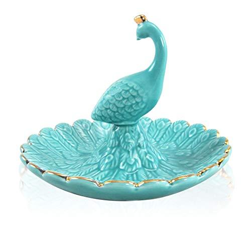 Lependor Soporte para anillo de elefante Bandeja de joyería para la boda, el cumpleaños de Navidad, Decoración de cerámica hecha a mano Bandeja para animales pequeños (Azul Pavo real)