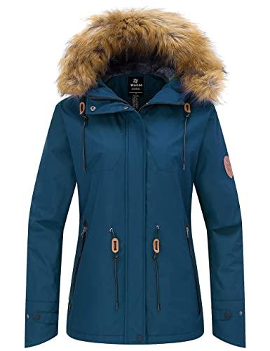Wantdo Women's Windproof Snowboarding Jacket Hooded Fleece Winter Ski Coat Outwear Blue Black M