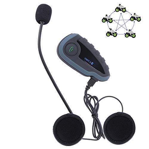 Xyamzhnn 1200m 5 conductores de motocicleta de Bluetooth del casco intercomunicador estéreo de auriculares con mando a distancia, soporte NFC y FM y de contestador automático Función del teléfono, wal