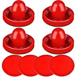 ONE250 Air Hockey Pushers and Red Air Hockey Pucks, Goal Handles Paddles Replacement Accessories for Game Tables (4 Striker, 4 Puck Pack) (Red)