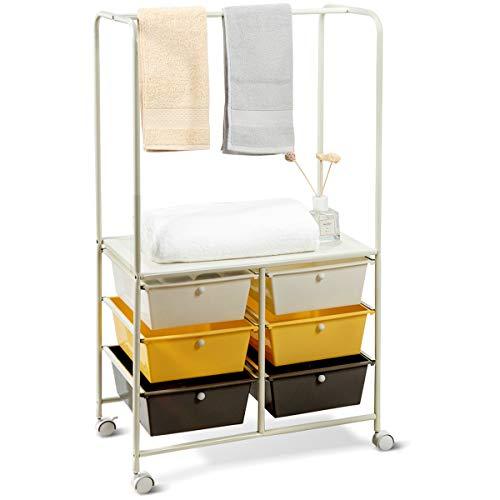 Giantex 6 Drawer Storage Cart, Office School Organizer Cart, Rolling Drawer Cart for Tools, Scrapbook, Paper or Bathroom, Storage Shelf (Beige, Yellow & Black)