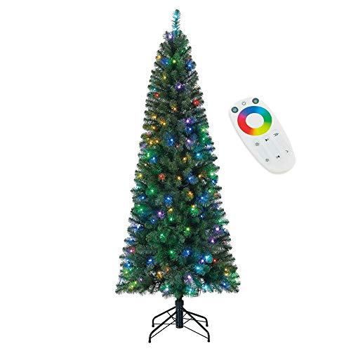 Home Heritage 7 Foot Color Blast Pre-Lit Christmas Tree with LED Multi Function Lights