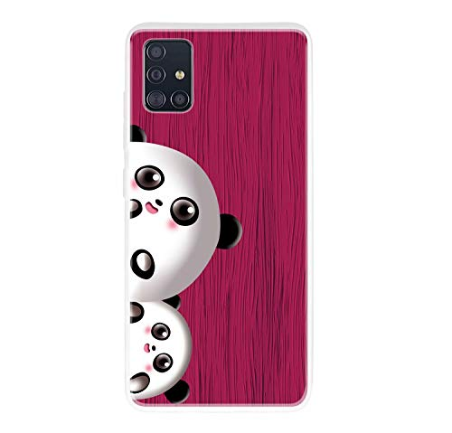 Miagon Holz Korn Hülle für Samsung Galaxy A71,Ultra Dünn Weiche Silikon Handyhülle Cover Stoßfest Schutzhülle mit Schöne Süß Panda Muster,Rose Rot