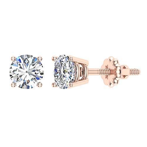 Pendientes de diamante para mujer, niñas, adolescentes, niños, oro rosa de 14 quilates, 0,06 quilates