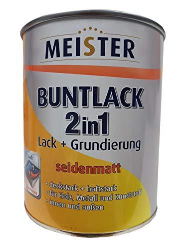 Meister Buntlack 2 in 1 Lack + Grundierung für innen und außen Seidenmatt 0.75 l Farbton wählbar, Glanzgrad:seidenmatt, Farbe:enzianblau