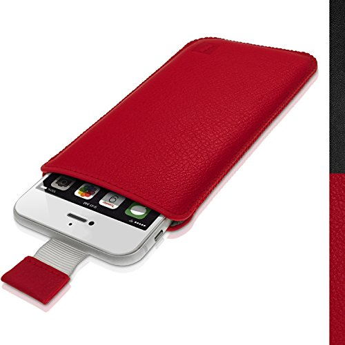 iGadgitz Premium Pouch Sleeve Red Leather Case Cover for Apple iPhone 7, 6S & 6 4.7' with Pull Tab (Not Suitable for iPhone 6 Plus & 7 Plus)
