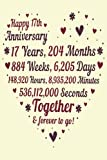 17 Years Of Marriage/happy anniversary: 17th Wedding Anniversary Celebrating, Marriage Anniversary Notebook Journal, Married for 17 Years Wedding duo diary, Sweet Memories Notebook Card Alternative