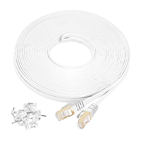 Cat7 Ethernet Cable 100 ft White Shielded (STP), AULLOV High Speed Flat RJ45 Cat-7/Category 7 Internet LAN Computer Patch Cord Cable, Faster Than Cat5/Cat6-100 Feet White (30 Meters)