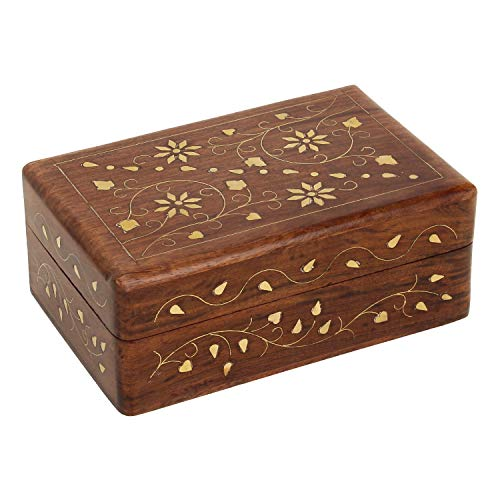 Ajuny Hand Crafted Wooden Decorative Trinket Jewelry Box Organiser with Mughal Inspired Floral Carvings & Brass Inlay-Centre Flower