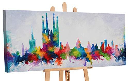 YS-Art | Cuadro Pintado Mano Barcelona Colors | Cuadro