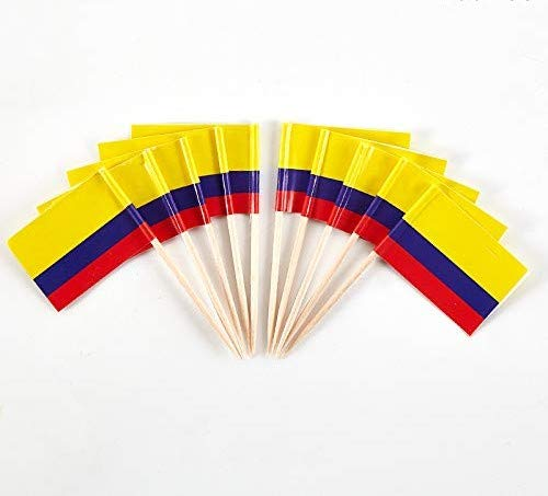 JAVD CYPS 100 Pcs Colombia Flags Colombian Toothpick Flags, Small Mini Stick Cupcake Toppers Colombian Flags,Country Picks Party Decoration Celebration Cocktail Food Bar Cake Flags
