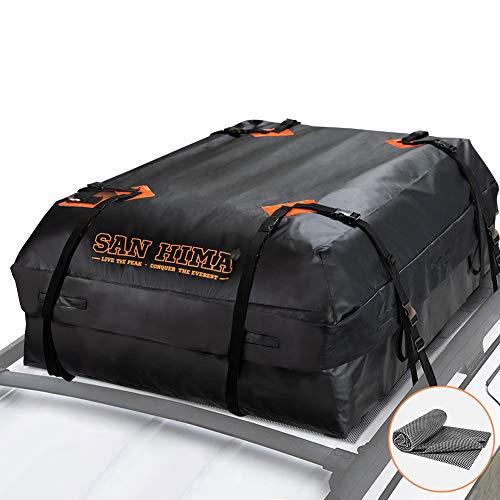 SANHIMA Roof Cargo Carrier Bag - (15 Cubic Feet) Heavy Duty Roof Bag with Anti-Slip Mat, Waterproof...