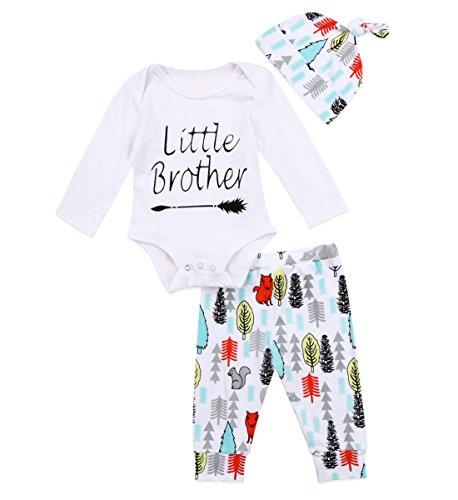 FOCUSNORM Conjunto de 3 peças para recém-nascidos com estampa Little Brother Arriow Romper Trees Animals Print Pants Hat Clothes