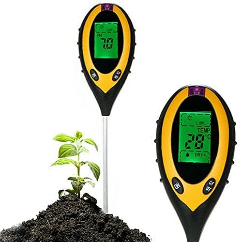 Oacvien Tester del Suolo, 4 in 1 Misuratore di PH del Terreno umidità PH Luce Solare Temperatura,Applica a Analizzatore di Suolo per Giardino, Piante, Fattoria, Interni ed Esterni,con Batteria