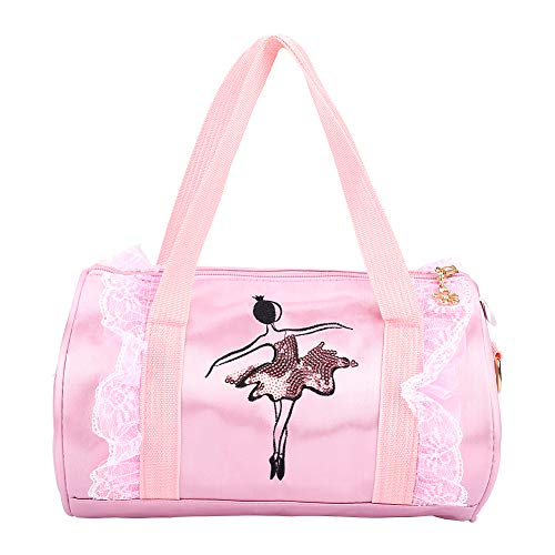 Doukon Ballet Princess Dance Bag Bolsas de Cuerpo Cruzado Bolsas de Hombro Bailarina para niños Ballet con Lentejuelas Bolso de Baile(Gasa Corta Rosa)