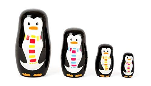Small Foot- Poupées Russes en Bois représentant 4 Pingouins de Tailles et de Coloris différents développant la Coordination Main-œil. Peuvent également Servir de décoration, 10619