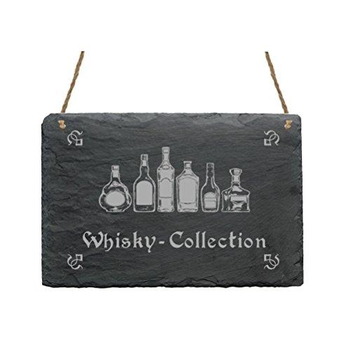 Leistenen bord « WHISKY COLLECTION » met motief huishouden decoratief bord geschenk decoratie whiskey