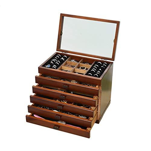 Joyero Tallado Hueco 6 Cajones De Almacenamiento Grandes Gabinete De Almacenamiento Caja De Almacenamiento De Joyas Con Tapa Multifunción Blanca Con Espejo ( Color : Brown , Size : 30×19×25cm )