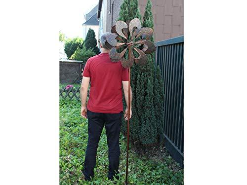 HAFIX Windrad Metall Blumenmuster Windspiel Metallwindrad Gartendeko rund Wind Mühle mit Erdspieß - 4