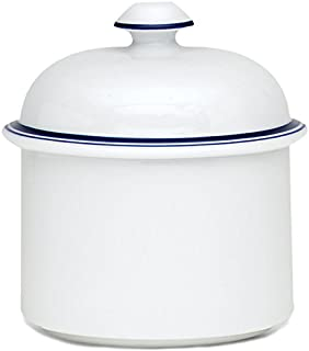 Dansk International CHRISTIANSHAVN Bistro Sugar Bowl & Lid White with Blue Trim