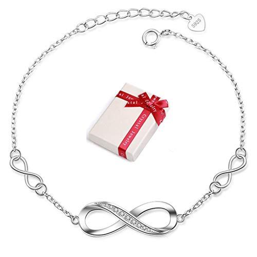 Crazy-m Infinity Armbänder Damen Armband 925 Sterling Silber Funkeln Kubisches Zirkonia Kuss Armband Akzent Unendlichkeit für Immer Armbänder für Damen 925 Sterling Silber Armband