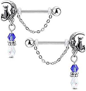 Sconosciuto Pair of Cat Sitting on Moon with Beads And Chain Dangles 316L Surgical Steel Nipple Barbell Rings