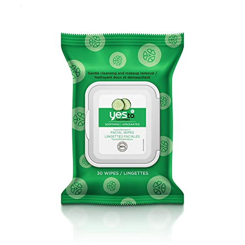 Yes To, Cucumbers Hypoallergenic Facial Wipes Remove Dirt and Makeup, Vegan Friendly , 30 wipes