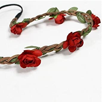 Hippie Flowers Hairband Crown Headdress Roses Power Garland 60s One Size