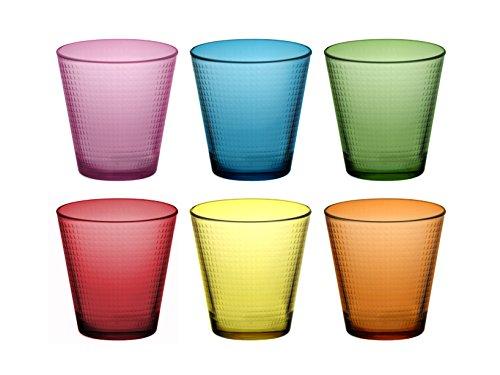 Pasabahce 914 Confezione 6 Bicchieri Generation 25Cl Med Assortiti, Vetro, Multicolore