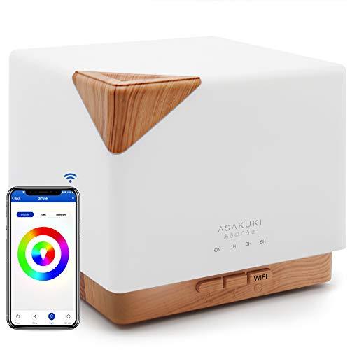 ASAKUKI Wi-Fi Smart Essential Oil Diffuser, Echo Alexa Control 700ml Ultrasonic Aromatherapy...