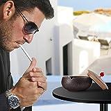 ONEDERZ Aschenbecher für Draußen mit Deckel, Keramik Windaschenbecher Geruchsdicht Sturmaschenbecher für Home Office Dekoration (Braun) - 6
