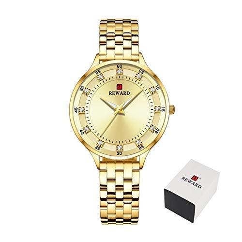 JCCOZ-URG Moda de Lujo a estrenar Reloj de Cuarzo Damas Casuales Impermeables Relojes de Las Mujeres 2020 del Reloj Mujer URG (Color : Golden in Box)