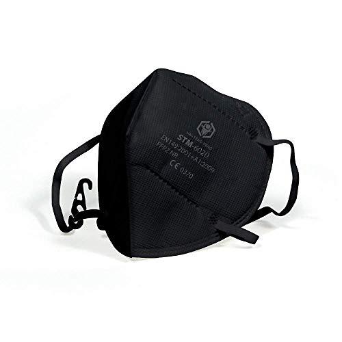 VeloVendo - FFP2 Maske CE Zertifiziert Schwarz (10 Stück einzelverpackt im PE-Beutel)